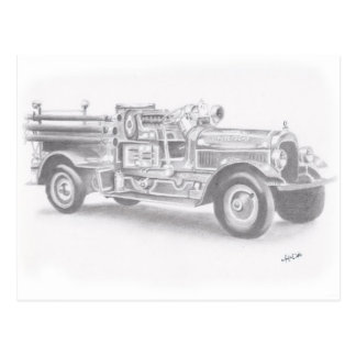 hand drawn vintage fire truck sketch postcard