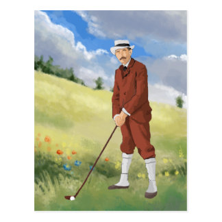 Hand drawn vintage golfer in the rough post card