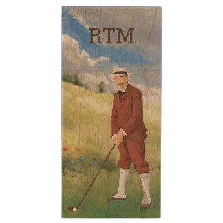 Hand drawn vintage golfer in the rough wood USB flash drive