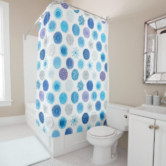 hand drawn watercolor circle texture shower curtain