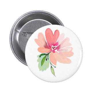 Hand drawn watercolor flower button