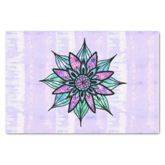 Hand Drawn Watercolor Flower on Purple Tie Dye Tissue Paper