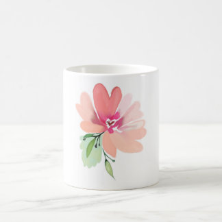 Hand drawn watercolor summer flower coffee mug