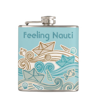 Hand drawn waves paper boats ocean elements flask