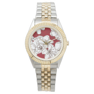 Hand Drawn White Apple Blossom Flowers on Red Wristwatch