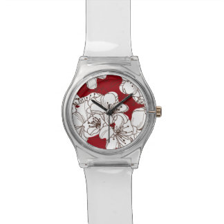 Hand Drawn White Apple Blossom Flowers on Red Wristwatches