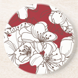 Hand Drawn White Wild Flowers on Red Coaster