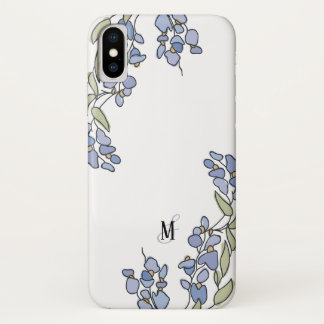 Hand Drawn Wisteria Floral Monogram iPhone X Case