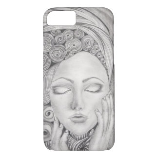 Hand Drawn Woman's Visage B&W, Iphone 7, Tough iPhone 8/7 Case