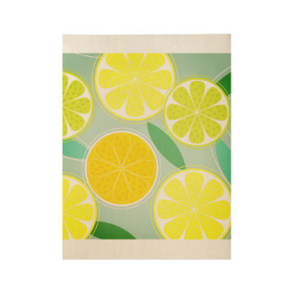 Hand drawn wood Poster with Citruses
