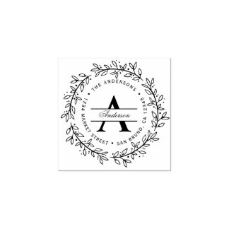 Hand-drawn Wreath | Custom Initial Return Address Rubber Stamp