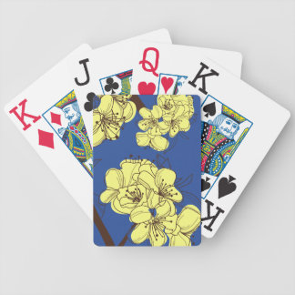 Hand Drawn Yellow Apple Blossoms on Blue Bicycle Playing Cards