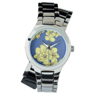 Hand Drawn Yellow Apple Blossoms on Blue Watches
