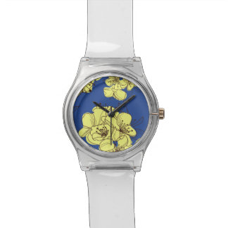 Hand Drawn Yellow Apple Blossoms on Blue Wristwatch