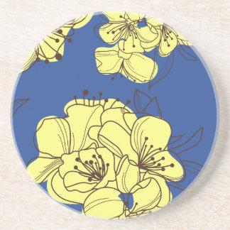 Hand Drawn Yellow Wild Flowers on Blue Coaster