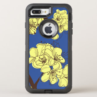 Hand Drawn Yellow Wild Flowers on Blue OtterBox Defender iPhone 8 Plus/7 Plus Case