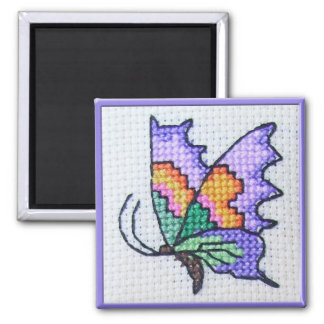 Hand embroidered bright butterfly square magnet
