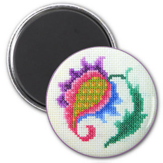 Hand embroidered bright flower 2 fridge magnet