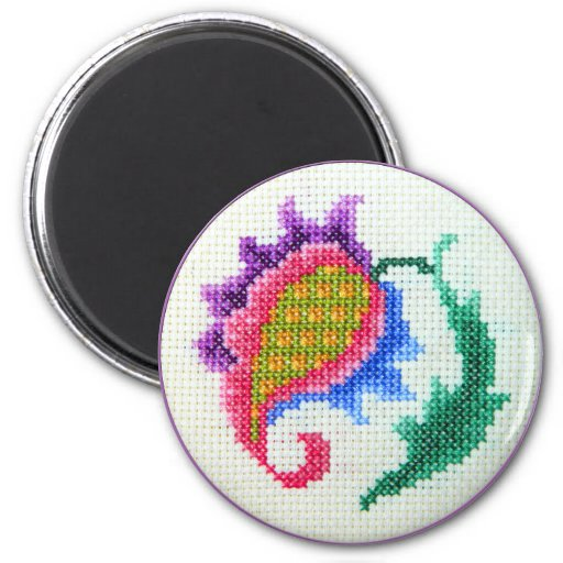 Hand embroidered bright flower 2 fridge magnet