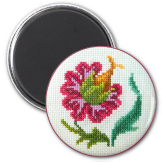 Hand embroidered bright flower 3 magnet