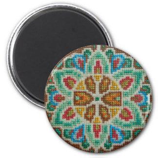 Hand embroidered bright flower 6 cm round magnet