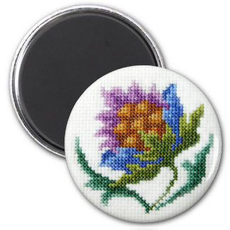 Hand embroidered bright flower refrigerator magnet