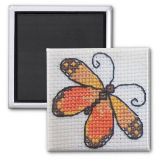 Hand embroidered orange butterfly square magnet