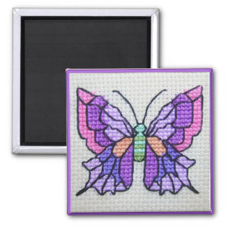Hand embroidered purple butterfly square magnet