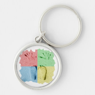 Hand Feet Prints in sand four color Silver-Colored Round Key Ring