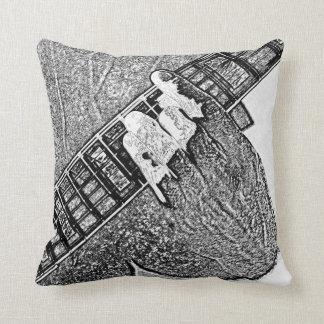 Hand fretting guitar bw sketch cushion