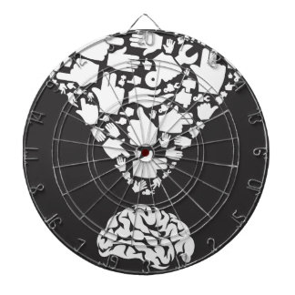 Hand from brain dartboard