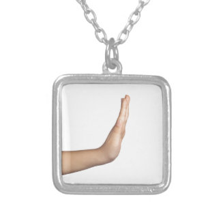 Hand gesture - Stop Silver Plated Necklace