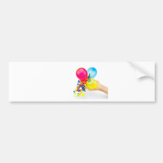 Hand giving colorful balloons with ribbons bumper sticker