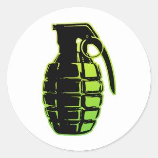 Hand Grenade - green Classic Round Sticker