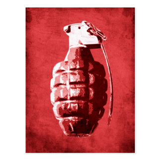 Hand Grenade on Red Postcard