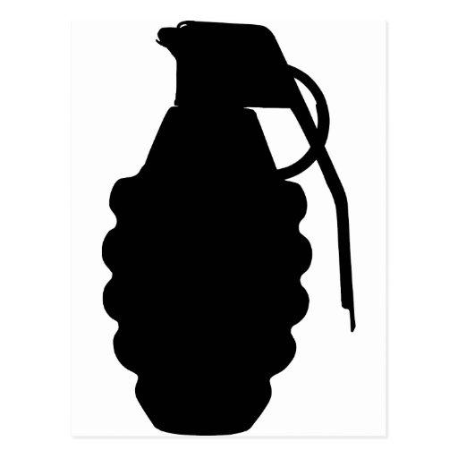 Hand Grenade Outline Silhouette Postcard | Zazzle