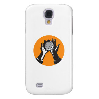 Hand Holding Ball with Spikes Circle Woodcut Galaxy S4 Cases