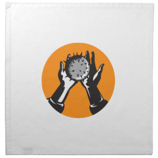 Hand Holding Ball with Spikes Circle Woodcut Napkin