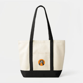 Hand Holding Ball with Spikes Circle Woodcut Tote Bag