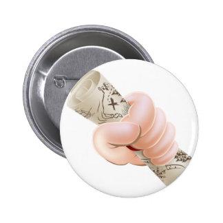 Hand holding cartoon treasure map buttons