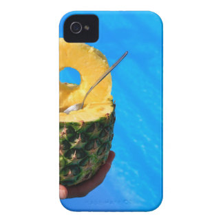 Hand holding fresh pineapple above swimming pool iPhone 4 Case-Mate cases