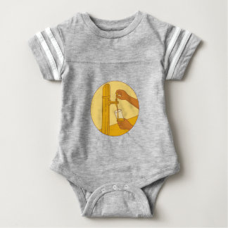 Hand Holding Glass Pouring Beer Tap Circle Drawing Baby Bodysuit