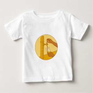 Hand Holding Glass Pouring Beer Tap Circle Drawing Baby T-Shirt