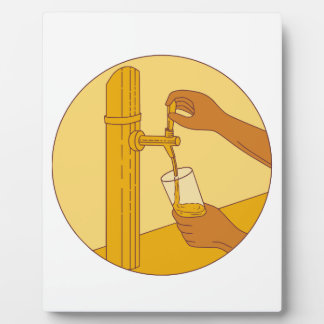 Hand Holding Glass Pouring Beer Tap Circle Drawing Plaque