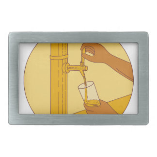 Hand Holding Glass Pouring Beer Tap Circle Drawing Rectangular Belt Buckle
