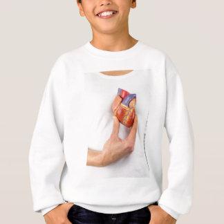 Hand holding model heart on chest sweatshirt