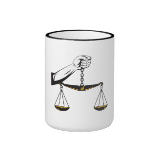 Hand Holding Scales of Justice Coffee Mug