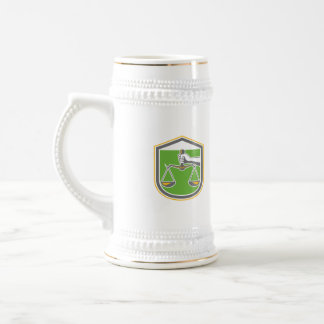 Hand Holding Scales of Justice Shield Retro Coffee Mug
