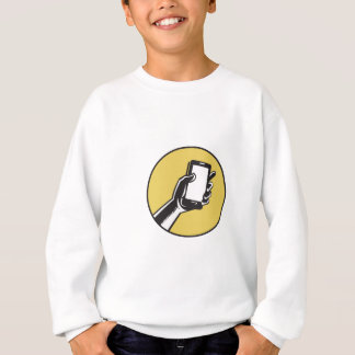 Hand Holding Smartphone Circle Woodcut Sweatshirt