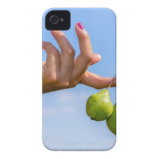 Hand holding two hanging green pears in blue sky iPhone 4 Case-Mate case